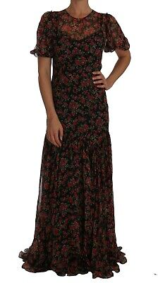 NEW $4800 DOLCE & GABBANA Dress Black Floral Roses A-Line Shift Gown IT42 /US8/M