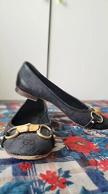 RARE VINTAGE GUCCI Flat Loafers Shoes 6 B Horsebit Bamboo Monogram Canvas