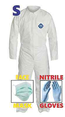 Small Tyvek Protective Suit Hazmat Clean-up Chemical Nitrile Gloves Face Mask