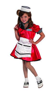 50's Diner Girl Costume Sock Hop 1950's Soda Shop Waitress Child Size Small 4-6