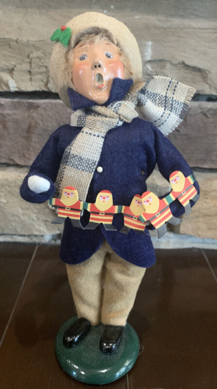 Byers Choice Carolers 1996 Boy With Santa Paper Doll Chain