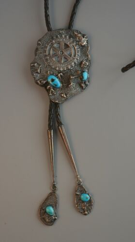 Vtg Navajo Indian Bolo Tie - Turquoise & Silver Nuggets - Dangle Tips - Rotary