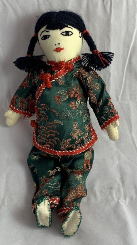 Ada Lum Chinese Doll, Beautiful Emerald Green Silk Brocade Shirt And Pants