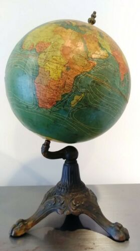 c1908 W A K Johnston 8 Inch Terrestrial World Globe for AJ Nystrom Gothic Finial