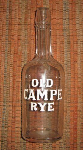 Antique back bar bottle OLD CAMPE RYE, heavy white enamel letters, ex. condition
