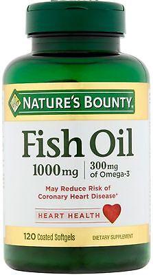 Nature's Bounty 300 mg Omega-3 Fish Oil 1000mg Softgels 120 Coated Soft Gels