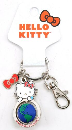 NEW Universal Studios Sanrio Hello Kitty Bow & Globe Spinner Keychain