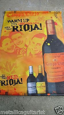 """CAMPO VIEJO WINES - SPAIN - PROMOTIONAL 45"""" x 32"""" CLOTH WALL BANNER *NEW*"""