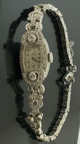 HAMILTON Ladies Diamond Art Deco Antique Watch 14k Gold + Sterling Silver Band