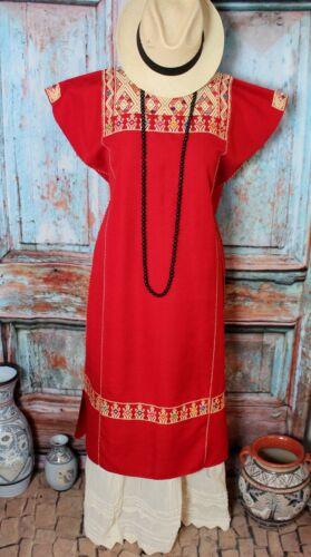 L/XL Kaftan Huipil Dress Red & Cream Maya Chiapas Mexico Hand Woven Resort Wear