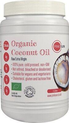 Organic  Extra Virgin Coconut Oil 1litre 1000ml Cold Pressed Unrefined Hair Skin