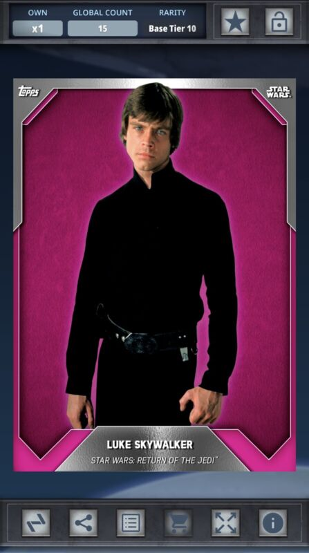 Topps DIGITAL Star Wars Card Trader Pink Base Luke Skywalker Return of the Jedi