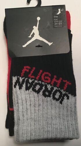 2 Pairs Nike JumpMan Jordan Flight crew Socks $14 Size 3Y-5Y Youth red Black