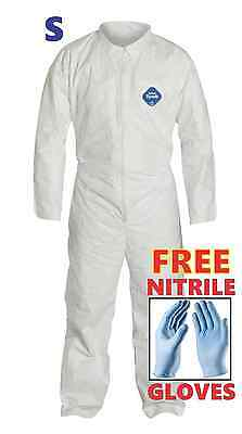 S Tyvek Protective Coveralls Suit Hazmat Clean-up Chemical With Nitrile Gloves