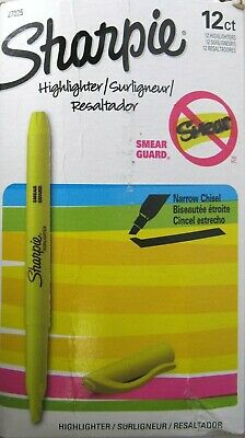12 Count Sharpie Highlighter Narrow Chisel Tip Smear Guard Yellow 27025 New