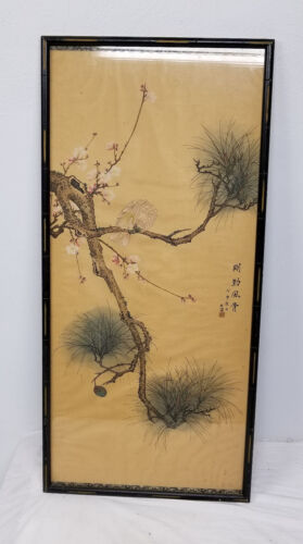 Antique CHinese or Japanese Scroll Painting Parrot Bird Pine Tree Signed