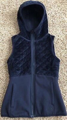 The North Face Reversible Hooded Quilted Vest Navy Blue Womens XS (Hooded Quilted Vest)