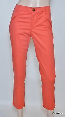 $198 Chaiken And Capone Paige Cropped Pants Trousers Chinos Capri Coral 4