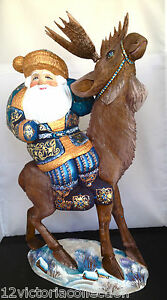 Russian-SANTA-on-REINDEER-Wooden-Hand-Carved-Hand-Painted-sign-by-artist
