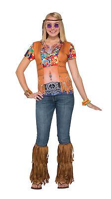 3D T-Shirt Hippie Mädchen Kostüm Hippie 60s 70s Mod Retro Vintage (Hippie Vintage Kostüm)