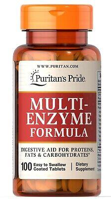 Puritans Pride Multi-Enzyme Formula 100 Tablets  Enzyme 100 Tablets