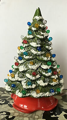 "Classic 7.5"" Ceramic Flocked Christmas Tree Light Up 2 Pcs"