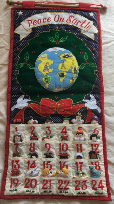 """Vtg 90s Pockets of Learning """"Peace On Earth""""Fabric Advent Calendar Children Cute"""