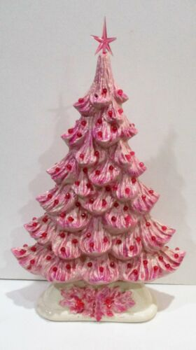 Vintage Ceramic Mold Two Sided Slim/Flat PINK Christmas Tree Lighted Able