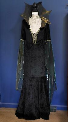 California Costume Black Girl's Size Large Vampire Steampunk Goth Lace Up Dress