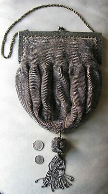 Antique Late Victorian  Edwardian Black Velvet Mourning Bag Beaded Black Coin Money Purse