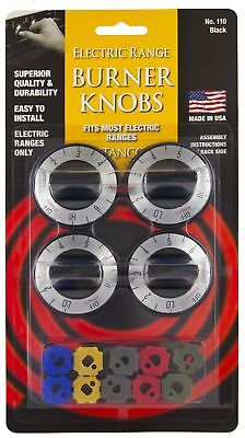 Stanco 4 Pack Universal Electric Range Stove Knobs, Black