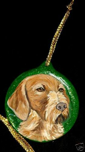 Wirehaired Vizsla dog Christmas Ornament Decoration Hand Painted Ceramic