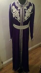 Moroccan Takshita Kaftan Caftan Maxi Dress Party  New Purple Colour