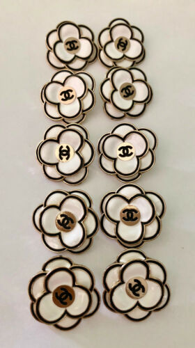 Chanel Vintage Stamped Camellia Metal Logo Black Gold Buttons  32mm  Lot of 10