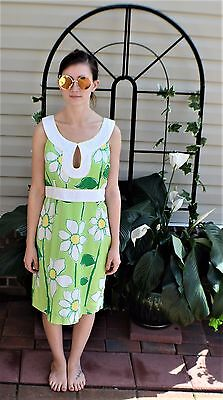 Lilly Pulitzer Green White Floral Gauze 100% Cotton Casual Summer Dress Size 10