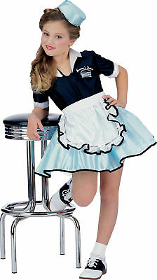 GIRLS 50'S CAR SOCK HOP WAITRESS COSTUME DRESS S RU38720 - Girls Car Hop Costume