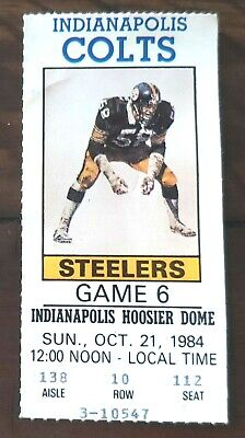 INDIANAPOLIS COLTS TICKET STUB v PITTSBURGH STEELERS 1984 - 1ST SEASON IN INDY!