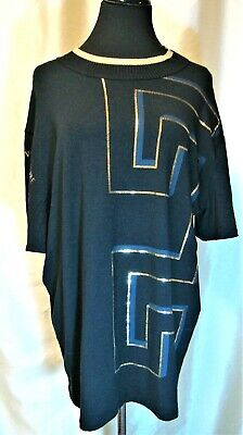 EUC Versace Jeans Couture Italy 1973 L/XL/XXXL Black Gold Knit Rib Neck Shirt