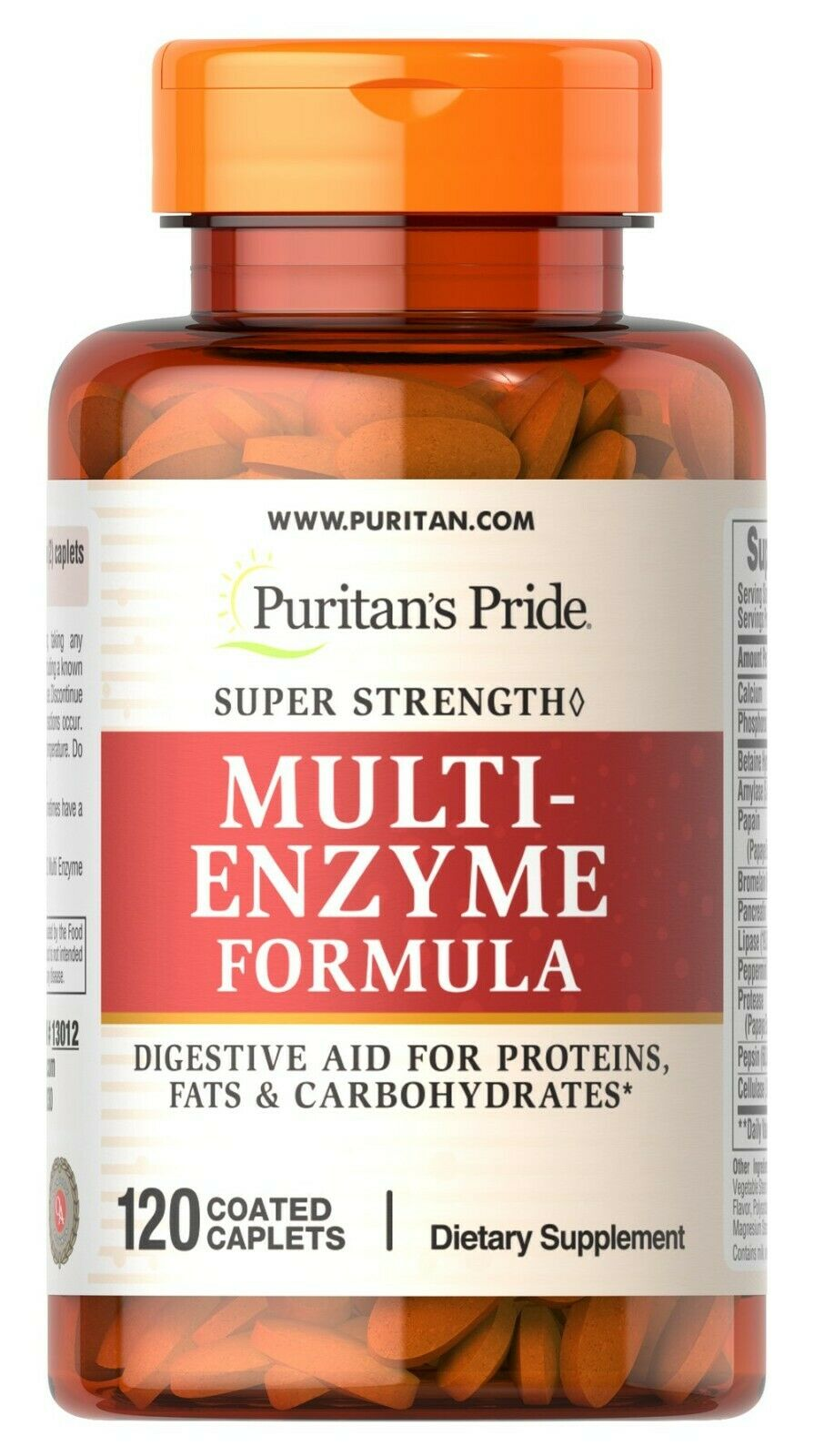 Puritan's Pride Super Strength Multi Enzyme Formula 120 Coated Caplets