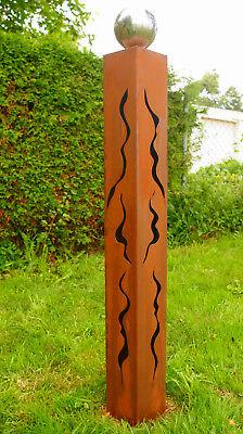 Gartendeko 100 cm Rostsäule Säule 2019  Skulptur Stehle Edelrost