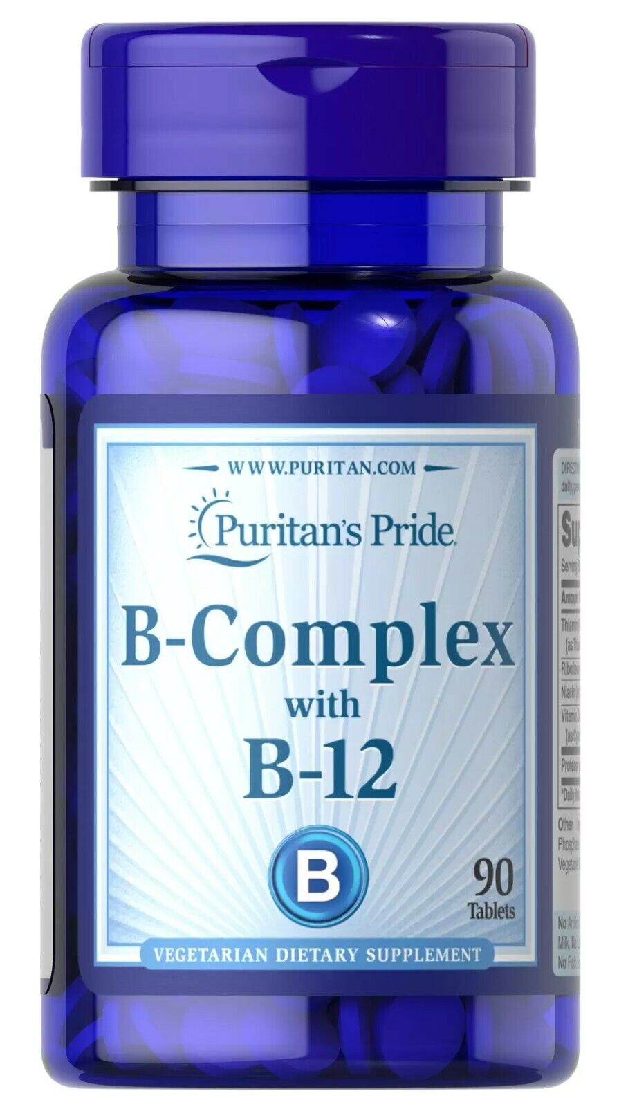 Puritan's Pride Vitamin B-Complex and Vitamin B-12 90 Tablets