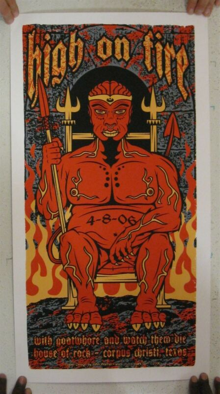 High On Fire Poster Silkscreen April 8 2006 Corpus Christi
