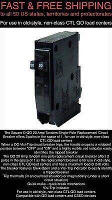 Free Ship New Square D Schneider Qo 20-amp 1-pole Tandem Circuit Breaker Qo2020c