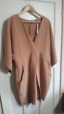 New With Tags Asos Wrapover Dress Camel Size UK 18 Cocktail Party Evening