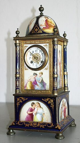 "Antique Hand Painted Porcelain ROYAL VIENNA 17"" Mantle Table Clock, signed, 1890"