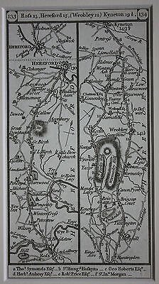Original antique road map, Herefordshire, Hereford, Rofs, Weobley, Paterson 1785