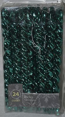 24 Glossy Metallic Electric Green Spiral Icicle (Christmas Electric Ornaments)