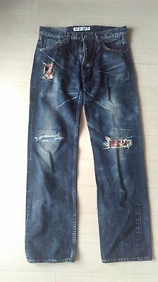 FDMTL Jeans Fundamental Remake Denim W32 Selvedge Regular Straight sashiko Used