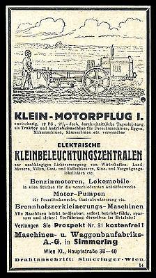 Alte Reklame 1921 Klein-Motorpflug Maschinen-Waggonfabrik in Simmering Wien