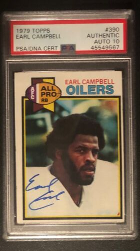 1979 TOPPS EARL CAPMBELL AUTOGRAPH SIGNED ROOKIE RC #390 PSA/DNA 10 OILERS HOF